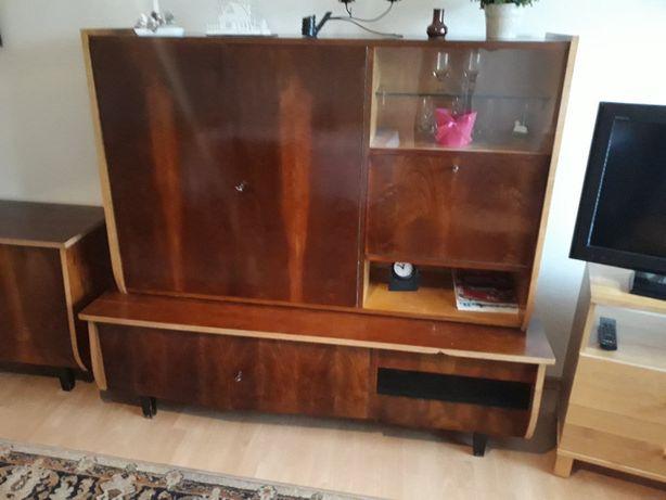 Komplet vintage-stół, fotel, 4x dębowy krzesła, kredens, komoda...
