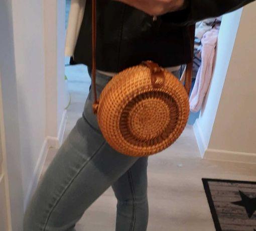 Okrągła torebka torba wiklinowa Nowa na ramię