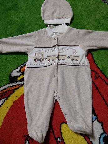 Детский велюровый человечек Bebelinna ползунки комбинезон костюм набор