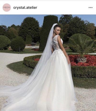 Весільна сукня А-силует, молочний колір