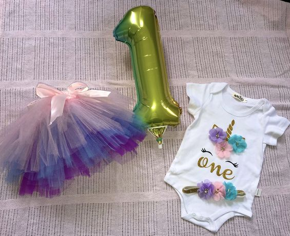 Komplet zestaw dla dziewczynki roczek urodziny body spòdniczka opaska