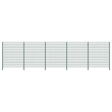 vidaXL Painel de vedação com postes ferro 8,5x2 m verde 278683
