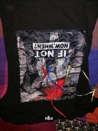 Koszulka czarna z Aplikacją Super bawełna Róż M Nowa
