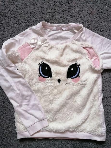 H&m 134 bluza kotek biała modna