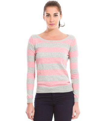 Camisola básica Springfield riscas rosa/cinzento