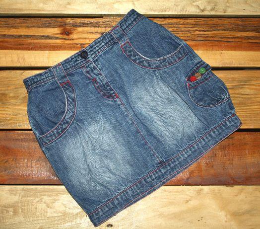 SPÓDNICZKA NEXT jak NOWA, cienki jeans, bombka_roz.110