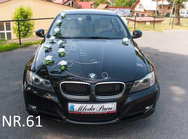 Dekoracja na samochód/biała/ślub/wesele/mocowana na przyssawce