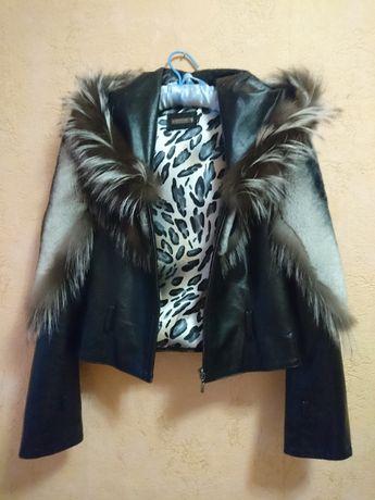 Куртка кожа, шиншилла