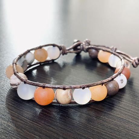 Jaspis Awenturyn Opal Bransoletka Boho Handmade z Kamieni Naturalnych