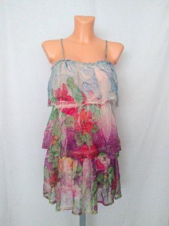 Sukienka na lato falbany pastelowa delikatna zwiewna