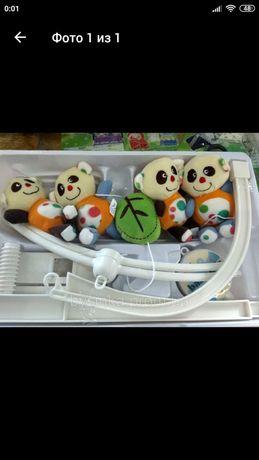 Музыкальная карусель для детской кроватки. Музыкальная,с мягкими игруш