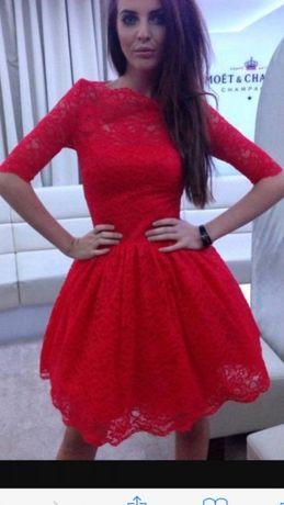 LOU sukienka czerwona koronka wysyłka Gratis