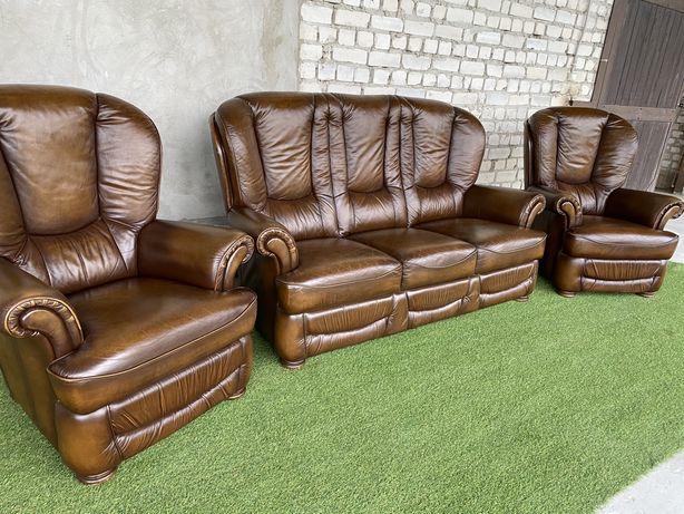 Шкіряний комплект 3+1+1 кожаный диван кожа Европа