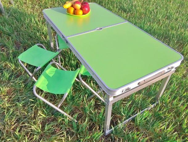 Разные цвета: Стол для пикника усиленный + 4 стула и зонт