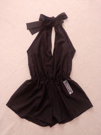 Nowy kombinezon S M NUNU czarny letni wiązany na szyi krótki