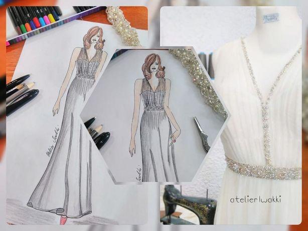 Sukienka ślubna styl Boho / Mały rozmiar 36
