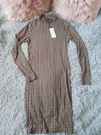 Amisu sukienka półgolf golf długa camel karmelowa na jesień wzory beż