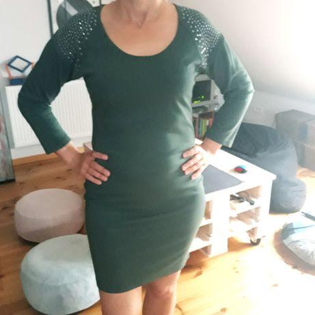 Oliwkowa dopasowana sukienka ćwieki 40