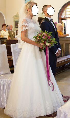 Suknia ślubna, biała suknia, welon rozm. 36