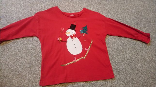 Bluzka świąteczna zimowa czerwona bałwanek 98/104