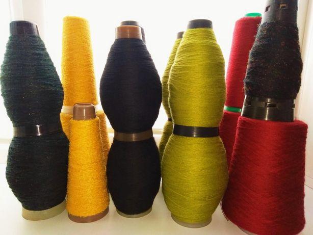Пряжа бобинная полушерсть, букле для вязания