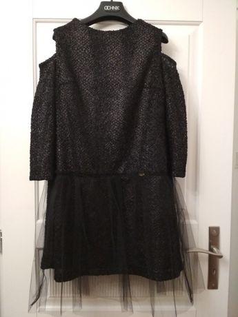 Sukienka La Furia a'la skóra tiulowa mała czarna - NOWA