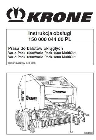 Instrukcja Krone Vario Pack 1500 VarioPack 1800 MultiCut/Vario