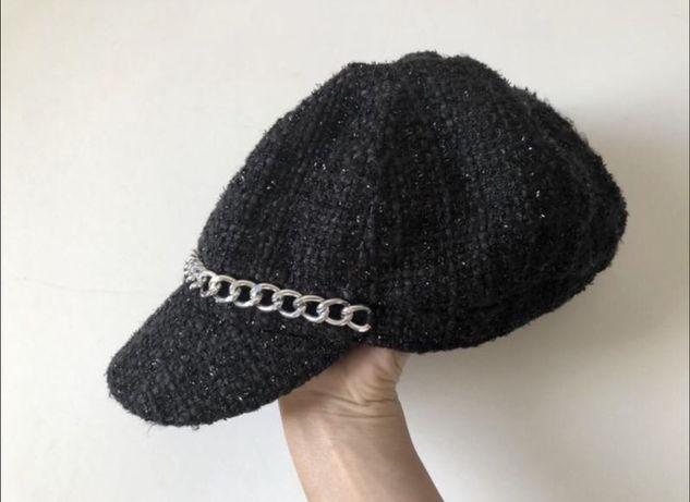 Кепка из твида капитанка кепи фуражка шапка шапочка картуз стиль zara
