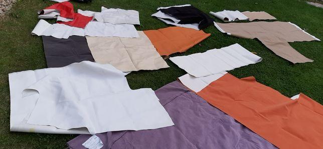 Kolekcja tkanin materiałów skor tapicerskich