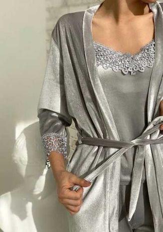 Женская Серебристая велюровая пижама 4в1 майка шорты штаны халат