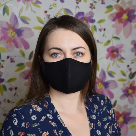 Черная маска защитная трехслойная, многоразовая, хлопковая