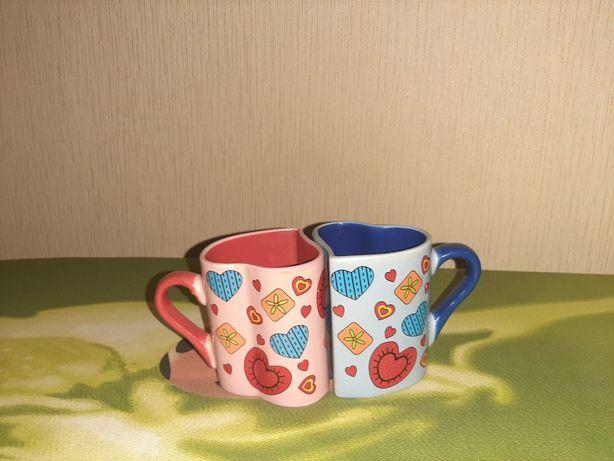 Продам чашки в виде сердца б/у