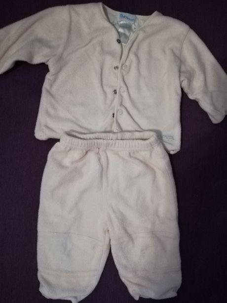 Теплый костюм штаны и кофта на кнопках на девочку 3-7 м под комбинезон