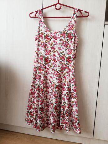 Letnia bawełniana sukienka rozkloszowana czerwona rozmiar XS 34