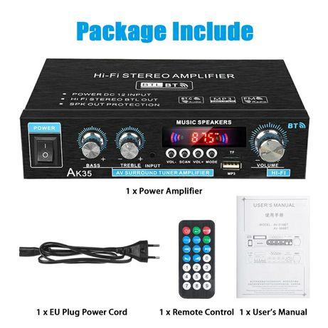 Wzmacniacz 2x30W RMS z FM USB SD Bluetooth AUX (Radio tuner RCA chinch