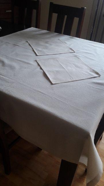 Bawełniany lniany obrus beż naturalny 110 x150 serwetka 30x30