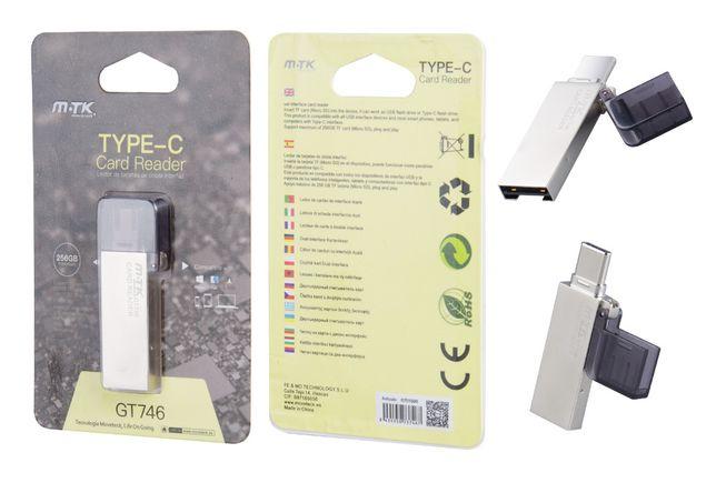 Leitor de cartões Micro SD com interface dupla (USB e Type-C)
