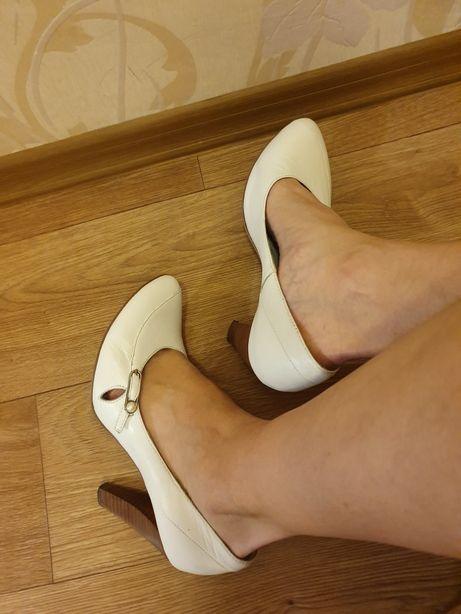 Свадебные белые туфли, кожа 38