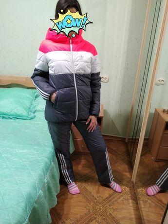 Тёплый зимний женский спортивный костюм на флисе