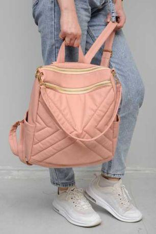 Розовый женский рюкзак, сумка, экокожа, школьный, повседневный
