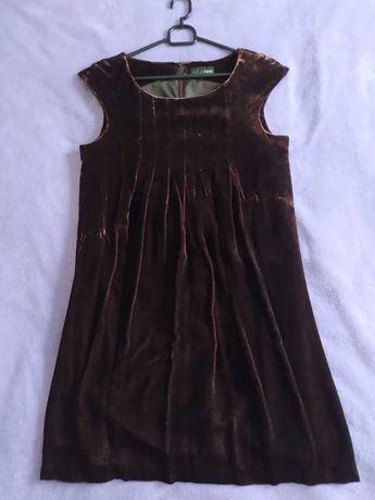 Sukienka - brązowy aksamit (rozmiar 36)