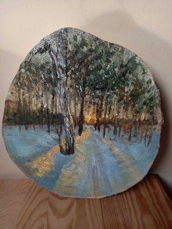Malowany ręcznie pejzaż zimowy.Ozdobny plaster drewniany