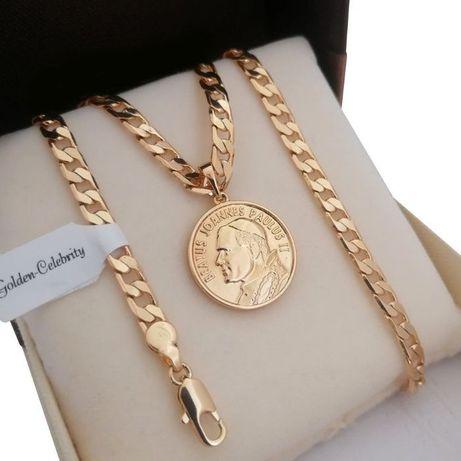 Złoty łańcuszek pancerka 55cm+ medalik Jan paweł II GWARANCJA PREZENT!