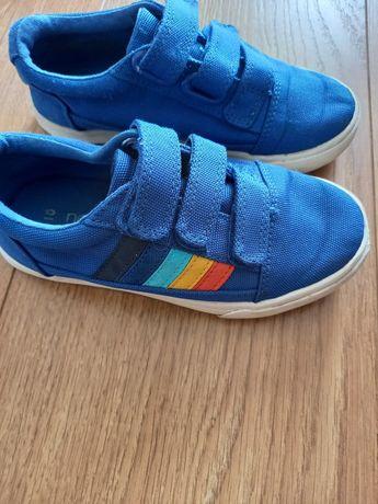 Trampki next r28 niebieskie z kolorową podeszwą na rzepy