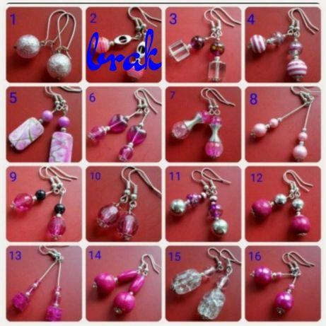 Kolczyki różowe 52 wzory, duży wybór +gratisy