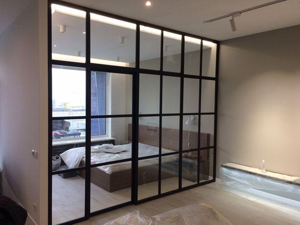 Лофт перегородки, межкомнатные двери с стали и стекла, раздвижные