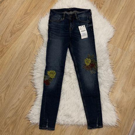 Spodnie dzinsowe dzinsy jeansowe jeansy rurki zara xs s m 34 36 38 hm