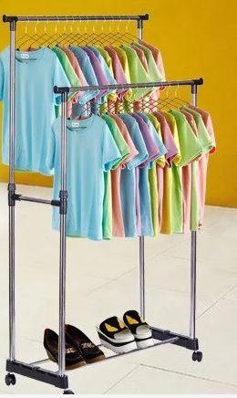 Двойная напольная стойка для одежды Вешалка Double-Pole