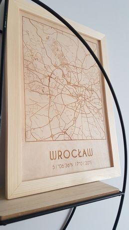 Mapa Wrocławia obraz drewniany