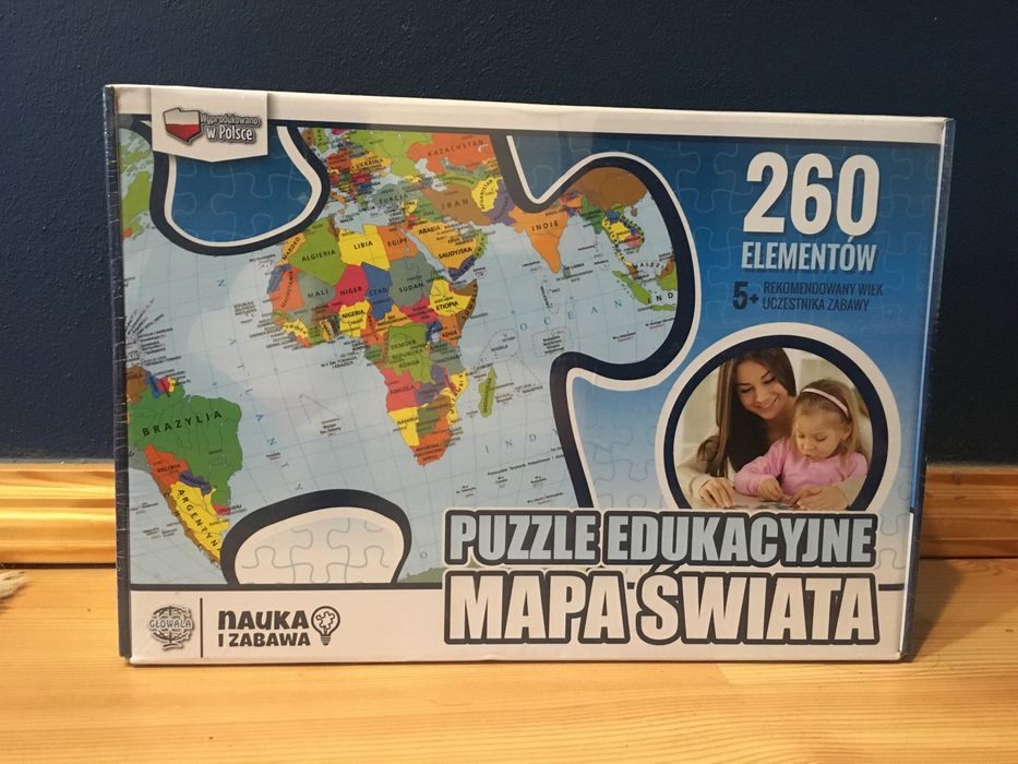 Puzzle mapa świata gra edukacyjna NOWE Chojnice - image 1